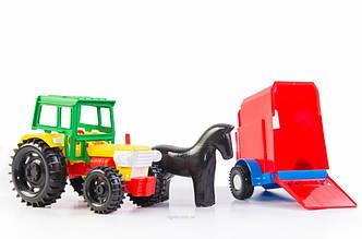 Игрушечная машинка трактор с прицепом в коробке