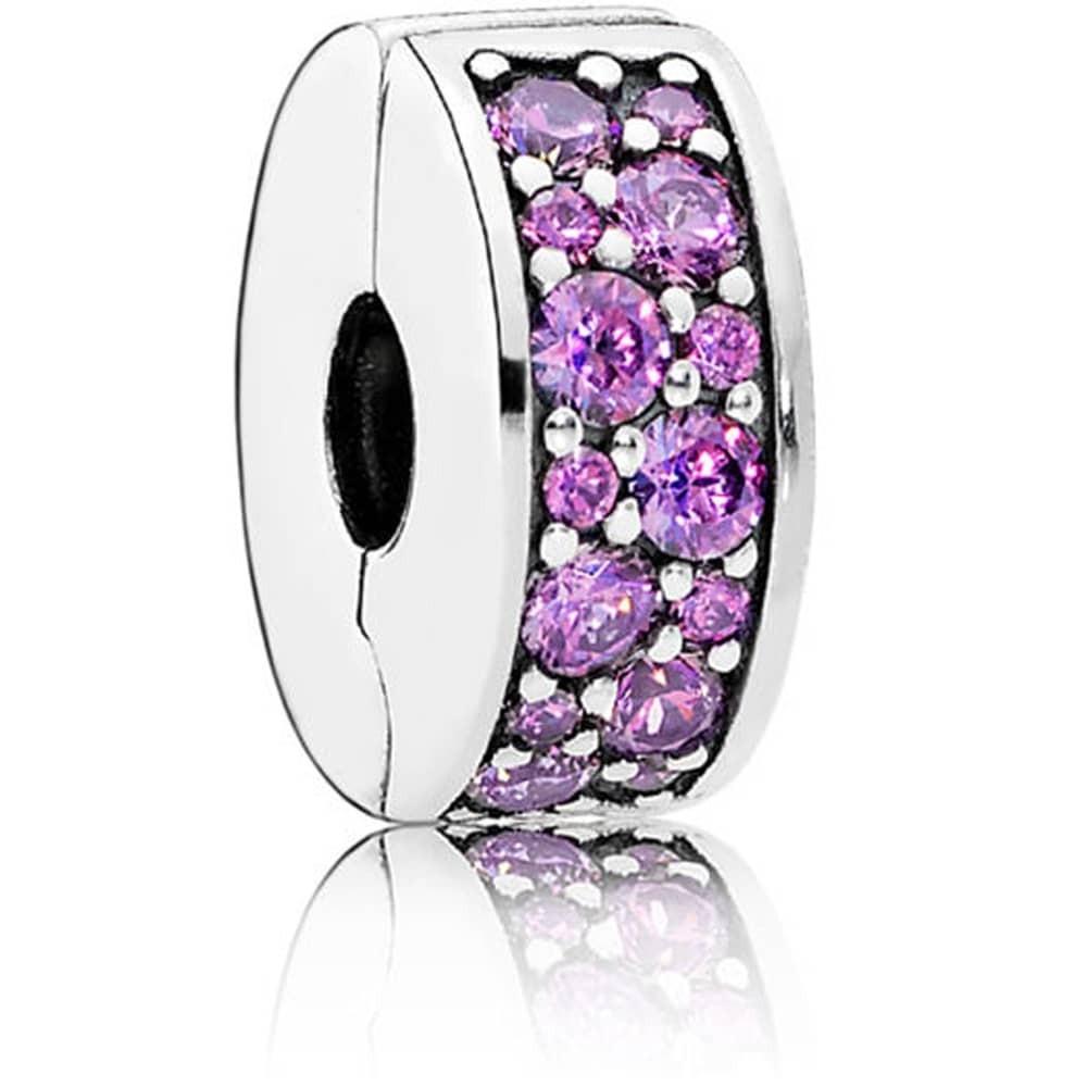 Серебряная клипса с разноцветными кристаллами и прозрачными камнями копия Pandora