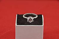 Серебряное кольцо, Кристалл, с камнем белый куб. цирконий и 17 размер