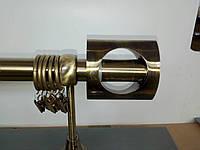 Карниз одинарный 240см D25мм латунь античная PIAZZA