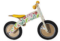 "Беговел 12"" Kiddi Moto Kurve деревянный, бабочки"