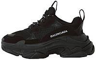 Женские кроссовки Balenciaga Triple S Black в стиле Баленсиага Трипл С Многослойная подошва черные