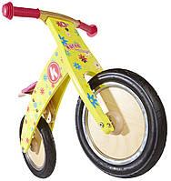 """Беговел 12"""" Kiddi Moto Kurve деревянный, жёлтый с цветами"""