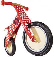"""Беговел 12"""" Kiddi Moto Kurve деревянный, красный в белый горошек"""