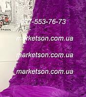 Покрывало плед травка 220х240 бамбуковое меховое пушистое с длинным ворсом Koloco Фиолетовый