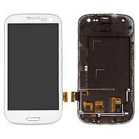 Дисплейный модуль (экран и сенсор) для Samsung Galaxy S3 i9300, i9300i, с рамкой, белый, TFT с регулировкой