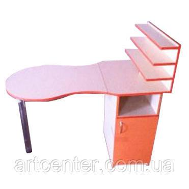 Стол для маникюра со складной столешницей, однотумбовый, с полочками для лаков