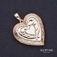 Кулон Xuping Сердце с секретом 52х42х40мм позолота 18к