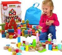 Набор деревянных кубиков, ведро с сортировщиком (100элементов), фото 1