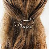 Заколка для волос кот, кошка, золотистая, серебристая, фото 3