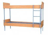 Двухъярусные металлические кровати с боковинами и спинками из ЛДСП