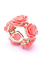 205430 Браслет из меди, покрытой 24К золотом, розы из ювелирной смолы
