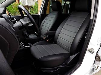 Чехлы на сиденья Пежо 301 (Peugeot 301) (модельные, экокожа, отдельный подголовник) черно-серый