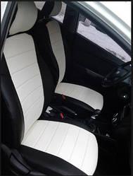 Чехлы на сиденья Пежо 301 (Peugeot 301) (модельные, экокожа, отдельный подголовник) черно-белый