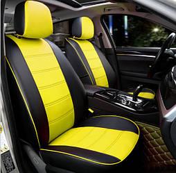 Чехлы на сиденья Пежо 301 (Peugeot 301) (модельные, экокожа, отдельный подголовник) черно-желтый