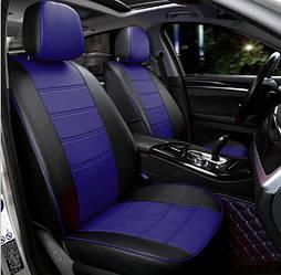 Чехлы на сиденья Пежо 301 (Peugeot 301) (модельные, экокожа, отдельный подголовник) черно-синий