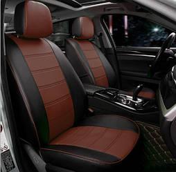 Чехлы на сиденья Пежо 301 (Peugeot 301) (модельные, экокожа, отдельный подголовник) черно-коричневый