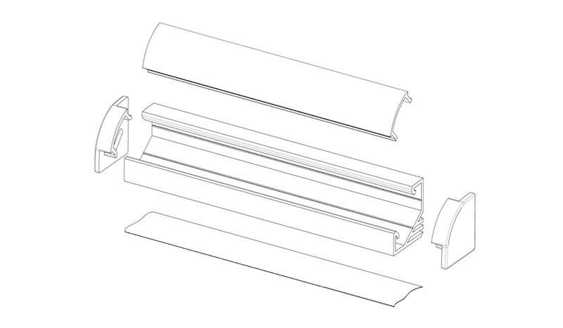 Светильник LED профиль мебельный угловой LPU17BT, алюминий, цвет свечения - теплый белый