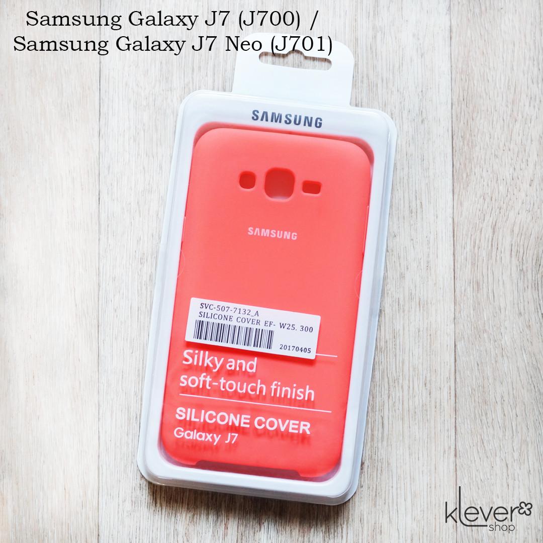 Оригинальный чехол накладка Silicone Cover для Samsung Galaxy J7 Neo (j701) (коралловый)