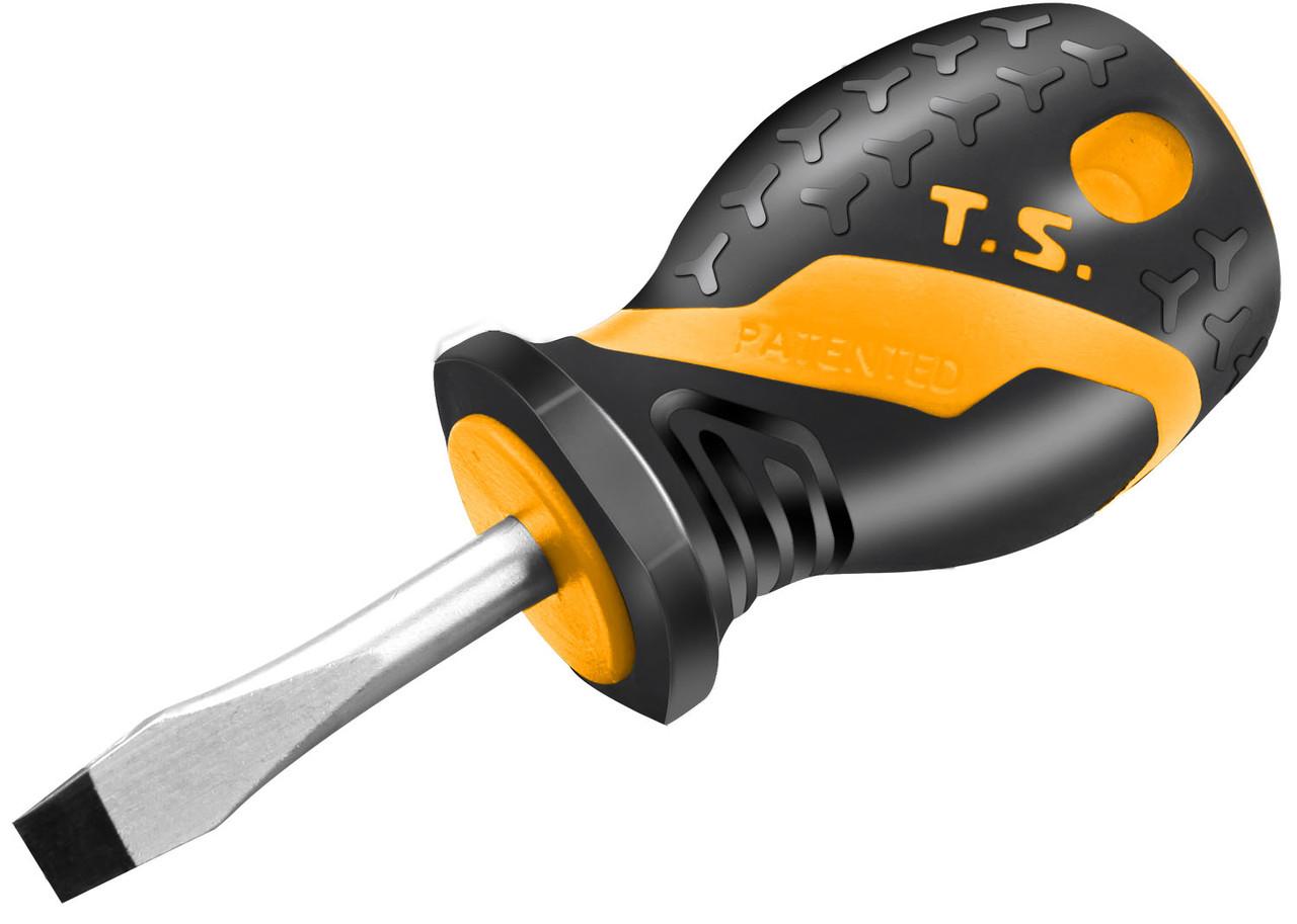 Отвертка шлицевая Tolsen Эрго короткая 6.5 х 38 мм Cr-V (20132)