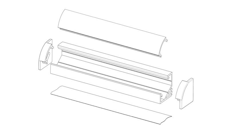 Светильник LED профиль мебельный угловой LPU17BX, алюминий, цвет свечения - холодный белый