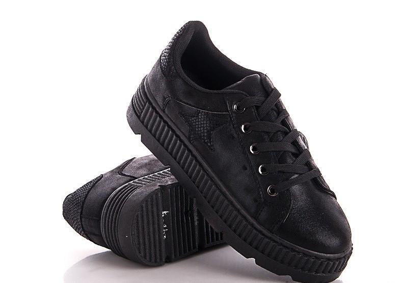 Жіночі кросівки чорного кольору на платформі 36-41р.