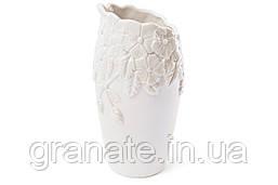 Ваза фарфоровая с объемным узором Незабудки, 23.5см, цвет - белый перламутр