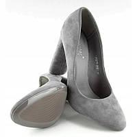 Туфли из качественного экозамша серого цвета