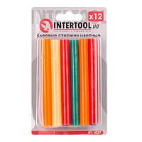 Комплект кольорових клейових стрижнів 11.2 мм*100мм,12 шт INTERTOOL RT-1027