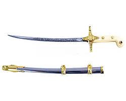 Сувенирное оружие Турецкая сабля в золоте на подставке вертикальная + ножны для подвеса, для фехтования