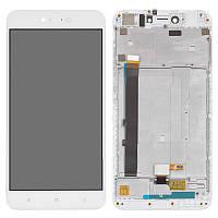Дисплейный модуль (дисплей + сенсор) для Xiaomi Redmi Note 5A (2/16 gb) с рамкой, белый, оригинал