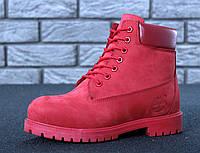 """Зимние ботинки на меху Timberland 6 inch """"Full Light Port"""" - """"Светло Бордовые"""" *Шерстяной Мех* (Копия ААА+)"""