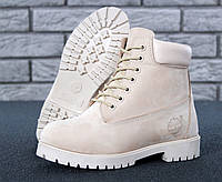 "Зимние ботинки на меху Timberland 6 inch ""Full Beige"" - ""Бежевые"" (Копия ААА+)"