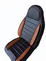 Чехлы на сиденья Шевроле Авео Т200 (Chevrolet Aveo T200) (универсальные, кожзам, пилот), фото 1