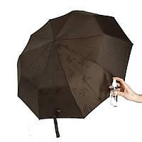 """Жіночий парасольку-напівавтомат на 10 спиць Bellisimo """"Flower land"""", проявлення, коричневий колір, 461-8"""