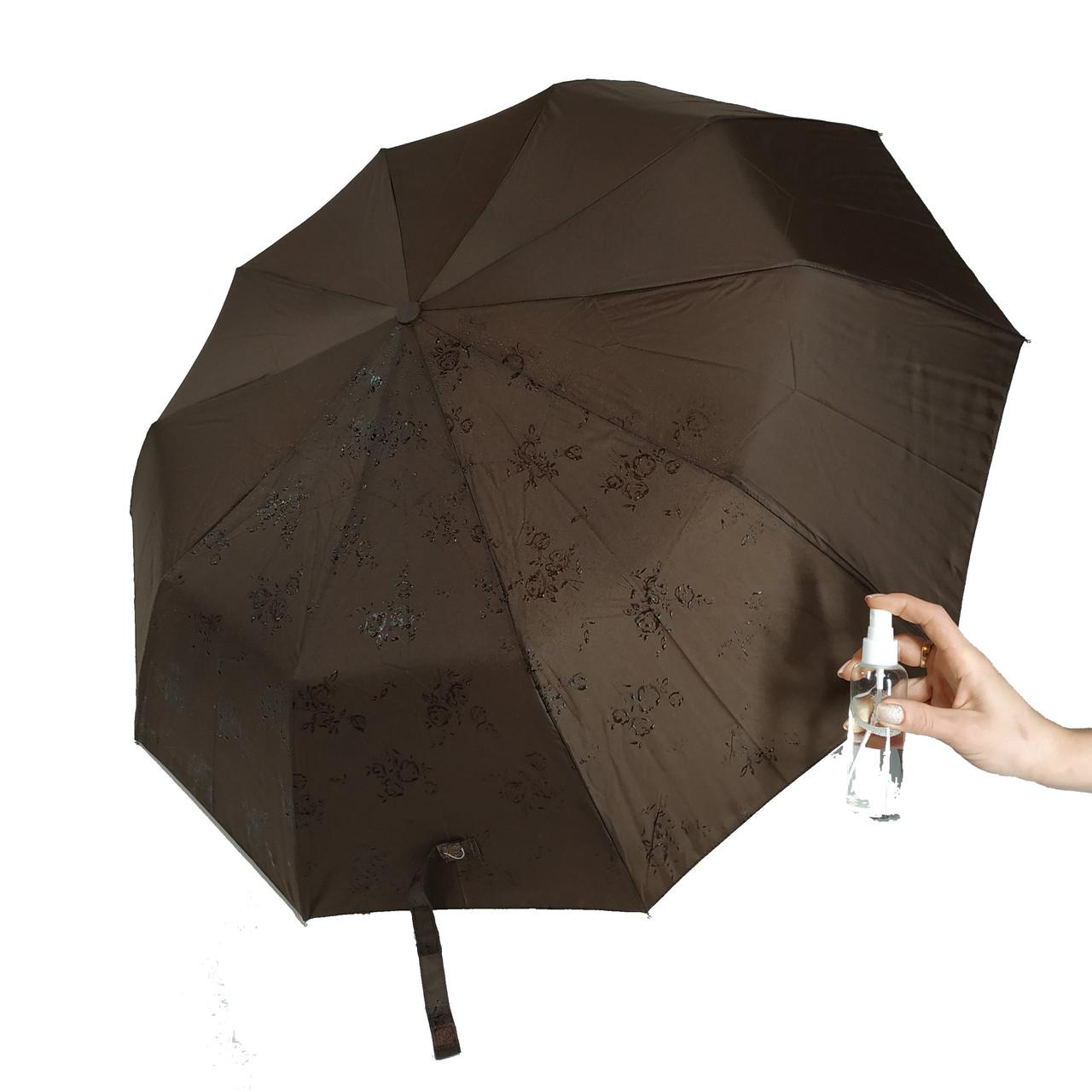 """Женский зонт-полуавтомат на 10 спиц Bellisimo """"Flower land"""", проявка, коричневый цвет, 461-8"""