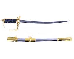 Сувенирное оружие пехоты Великобритани Сержантская сабля в золоте на подставке вертикальная, ножны для подвеса