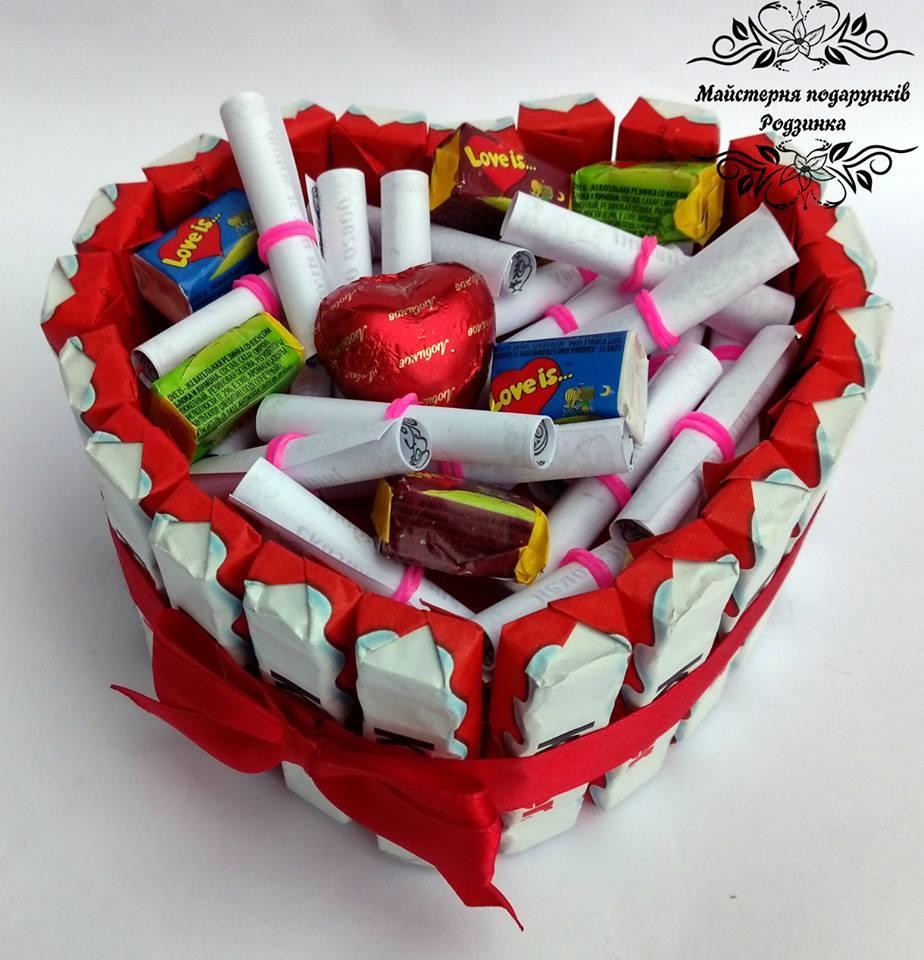 Тортик серце MINI із записками 25 причин кохання. Валентинка на 14 лютого, подарунок коханому, коханій