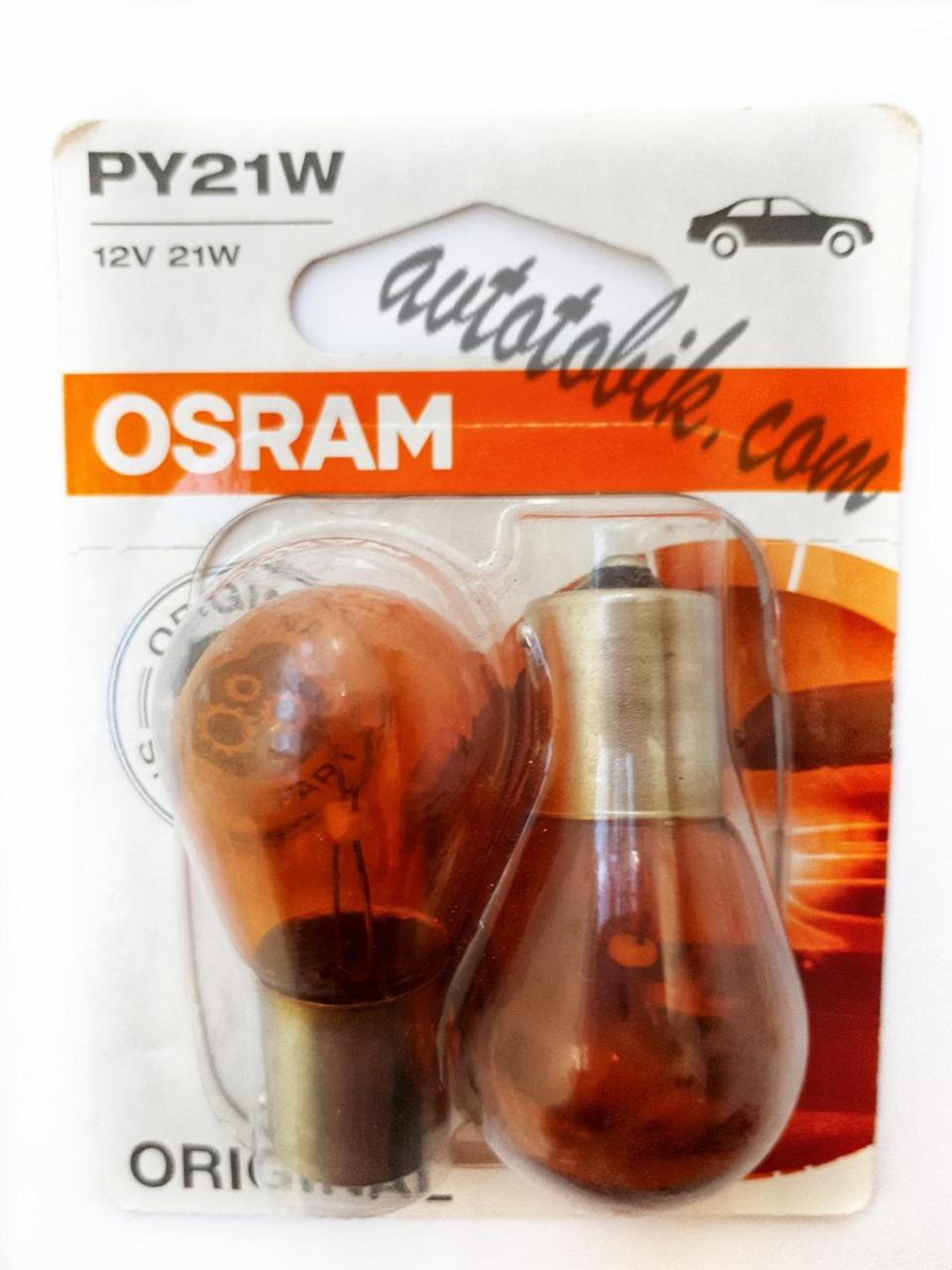 Автомобильная лампочка Osram Original line 7507-02B PY21W ORANGE 12V (2 шт blister)