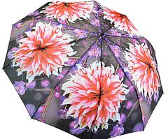 """Женский зонтик """"Flower"""", полуавтомат на 10 спиц, розовые георгины, 471-1"""
