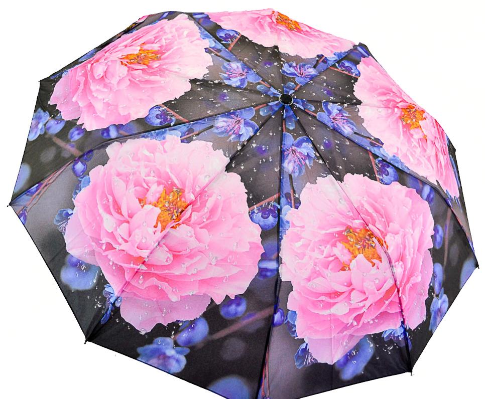 Женский зонт-полуавтомат на 10 спиц от SL, розовые пионы, 471-3