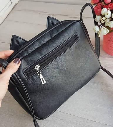 Стильная женская сумка через плечо с ушками черная, фото 2