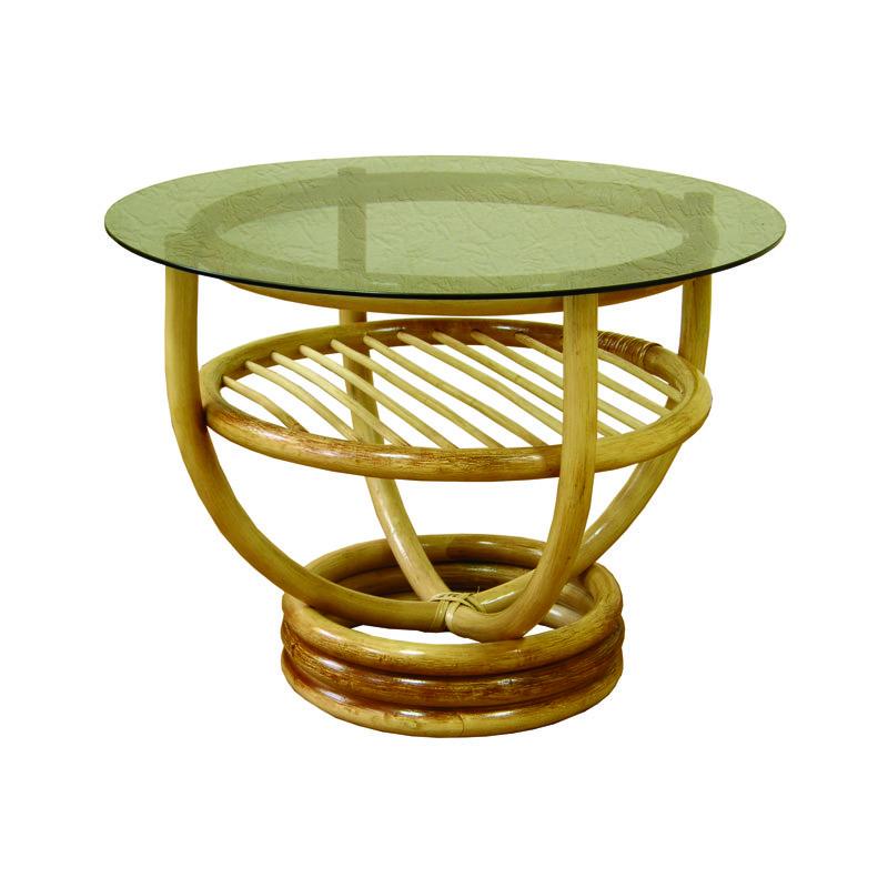 Стол ЧФЛИ Марс кухонный обеденный круглый плетённый из ротанга со стеклом нераскладной