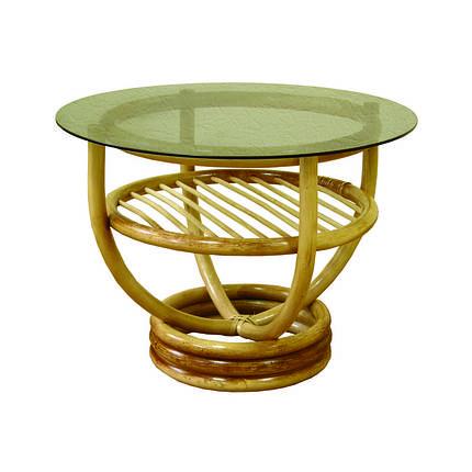 Стол ЧФЛИ Марс кухонный обеденный круглый плетённый из ротанга со стеклом нераскладной, фото 2