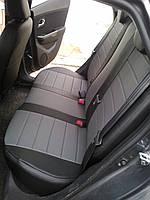 Чехлы на сиденья КИА Каренс (KIA Carens) (универсальные, кожзам, пилот) черно-серый