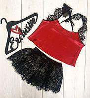 Черно-красный пижамный комплект майка-топ + кружевные шорты.