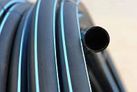 Труба полиэтиленовая, черная с синей полосой Ø25; (10 атмосфер)