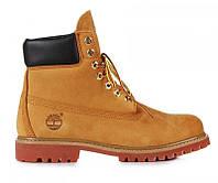 """Зимові черевики на хутрі Timberland 6 inch """"Yellow Boots"""" - """"Світло-Коричневі"""" *Вовняний Хутро* (Копія ААА+)"""