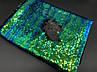 Ткань пайетка двухсторонняя. Цвет сине зелено-черный. Хамелеон., фото 2