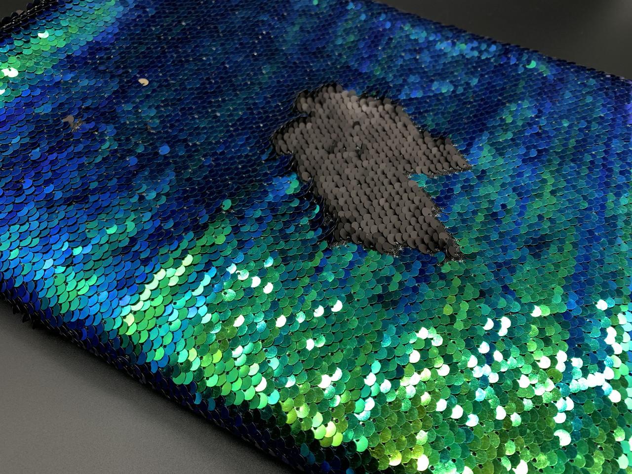 Ткань пайетка двухсторонняя. Цвет сине зелено-черный. Хамелеон.